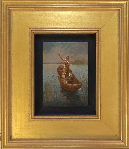 Antique oil on wood panel floating in gold frame